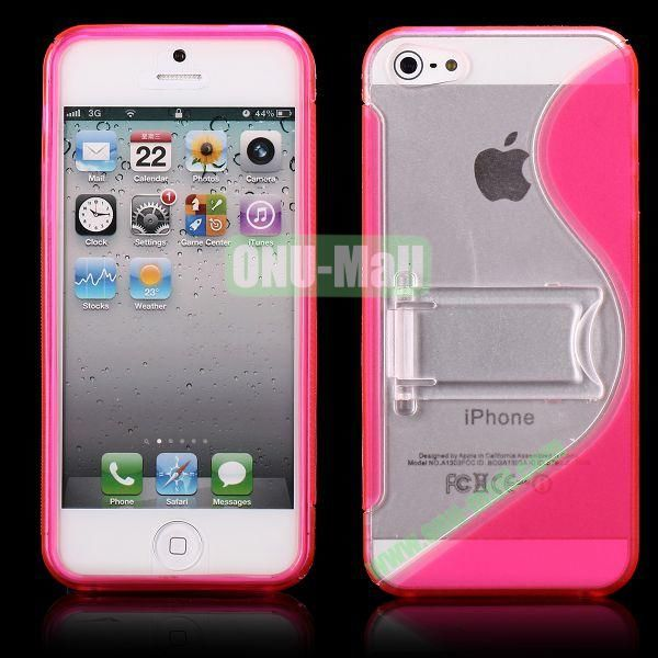 S-Line Hard PC+TPU Case For iPhone 5 5S With Kickstand (Rose)