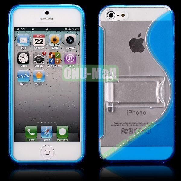 S-Line Hard PC+TPU Case For iPhone 5 5S With Kickstand (Blue)