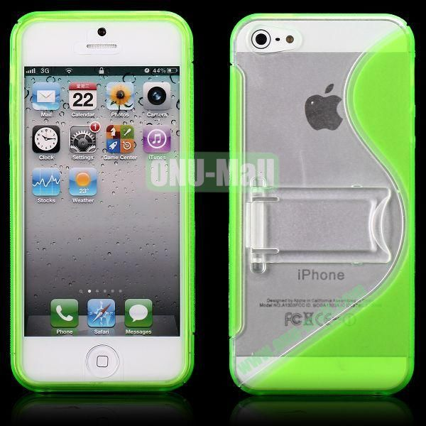 S-Line Hard PC+TPU Case For iPhone 5 5S With Kickstand (Green)