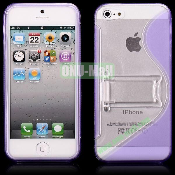 S-Line Hard PC+TPU Case For iPhone 5 5S With Kickstand (Purple)