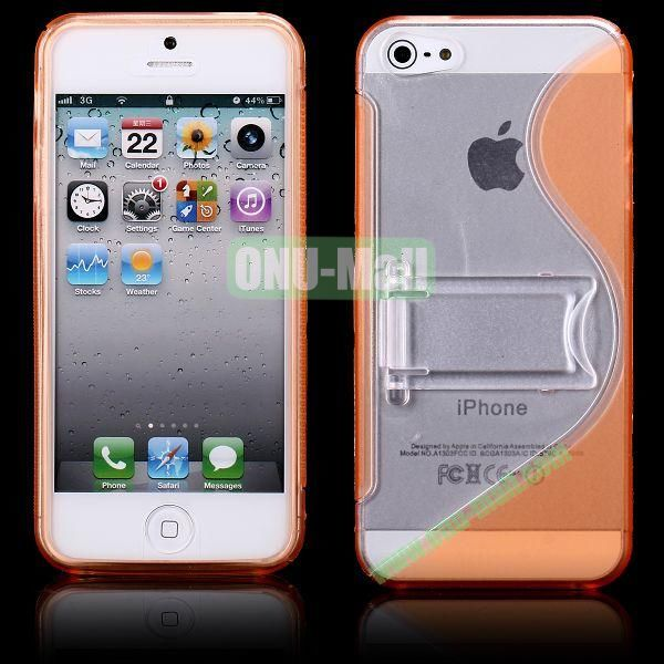 S-Line Hard PC+TPU Case For iPhone 5 5S With Kickstand (Orange)