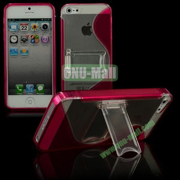 S-Line Hard PC+TPU Case For iPhone 5 5S With Kickstand (Wine Red)