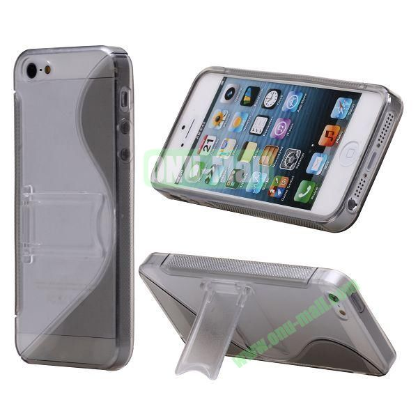 S-Line Hard PC+TPU Case For iPhone 5 5S With Kickstand (Grey)