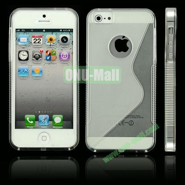 New Arrival S Shape TPU Case for iPhone 5 5S (Transparent)