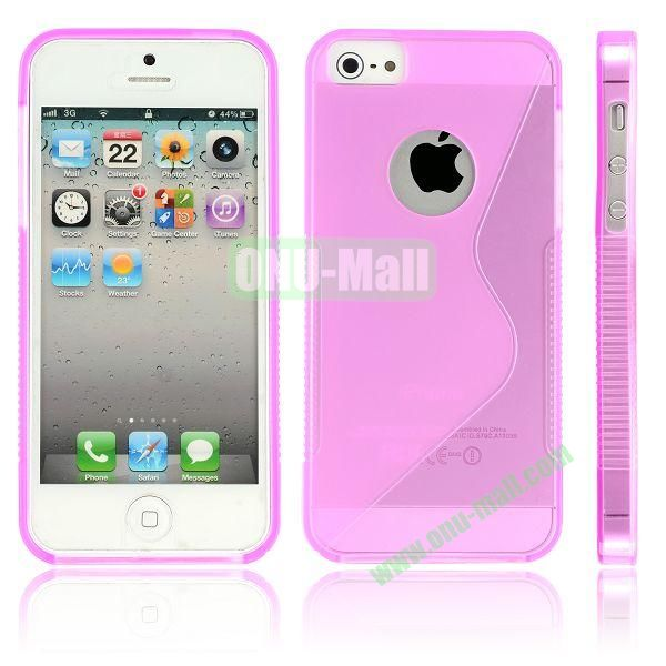 New Arrival S Shape TPU Case for iPhone 5 5S (Pink)