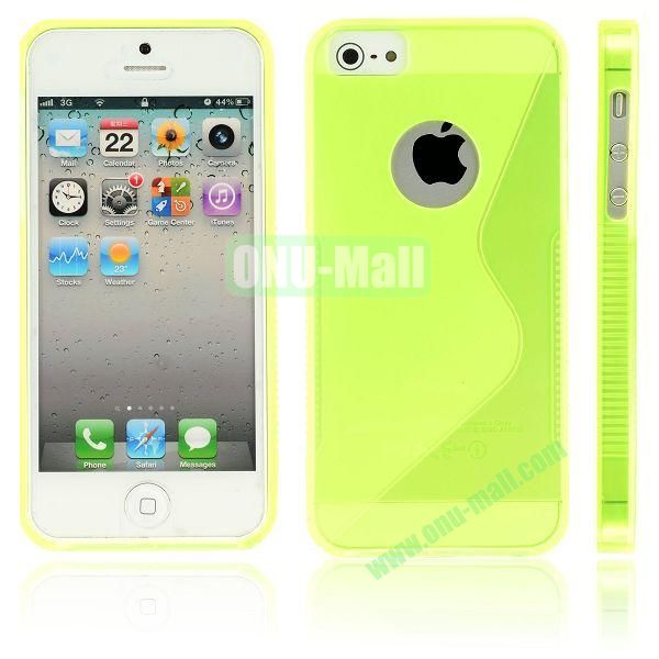 New Arrival S Shape TPU Case for iPhone 5 5S (Yellow)