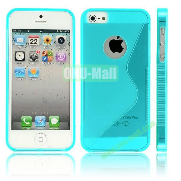 New Arrival S Shape TPU Case for iPhone 5 5S (Blue)