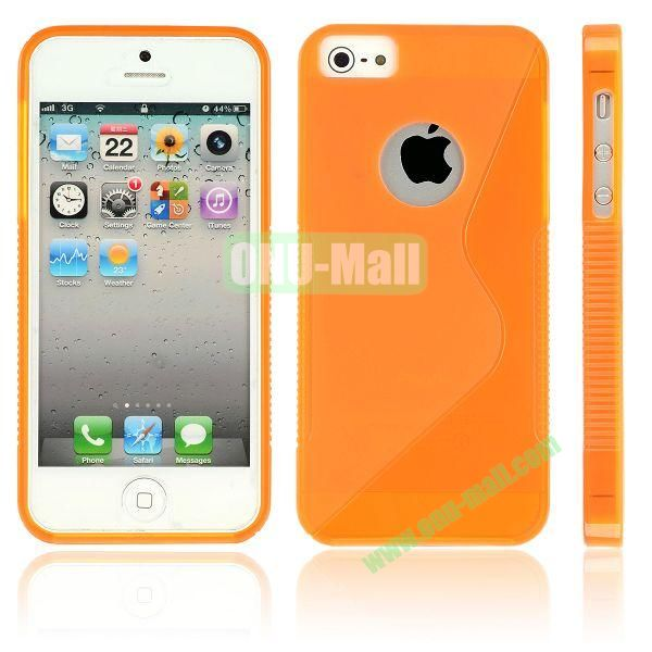 New Arrival S Shape TPU Case for iPhone 5 5S (Orange)