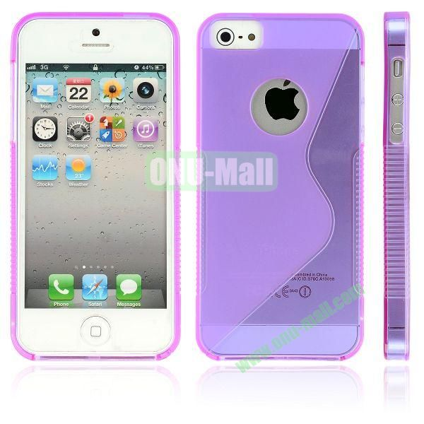 New Arrival S Shape TPU Case for iPhone 5 5S (Purple)