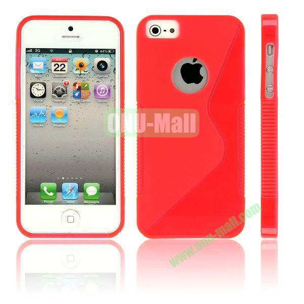 New Arrival S Shape TPU Case for iPhone 5 5S (Red)