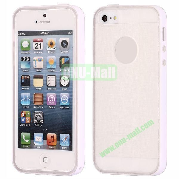 Two-tone Detachable Anti-skidding TPU Case for iPhone 5 5S (White)
