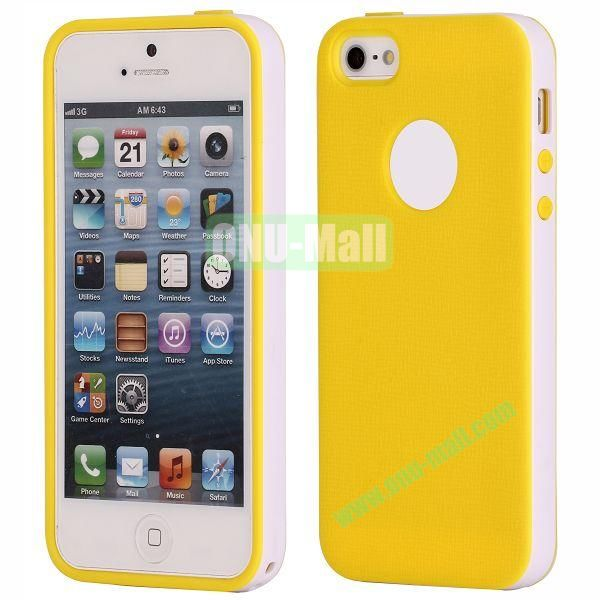 Two-tone Detachable Anti-skidding TPU Case for iPhone 5 5S (Yellow)