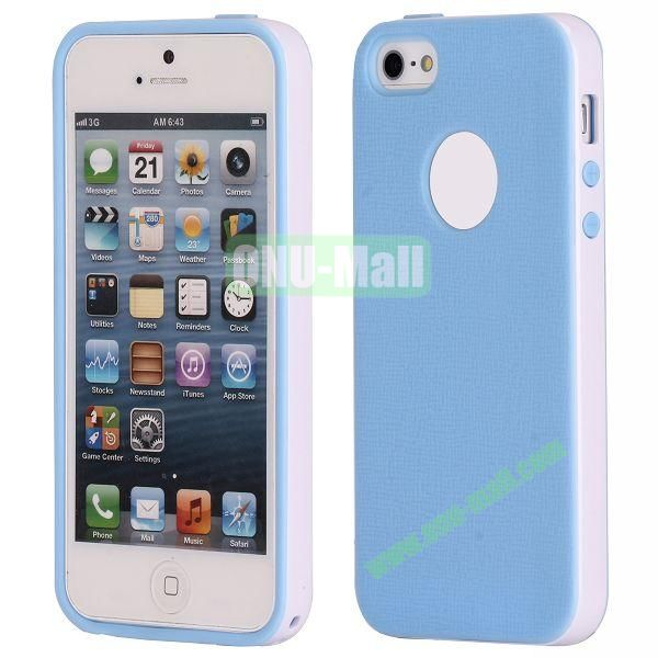 Two-tone Detachable Anti-skidding TPU Case for iPhone 5 5S (Blue)