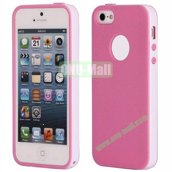 Two-tone Detachable Anti-skidding TPU Case for iPhone 5 5S (Pink)