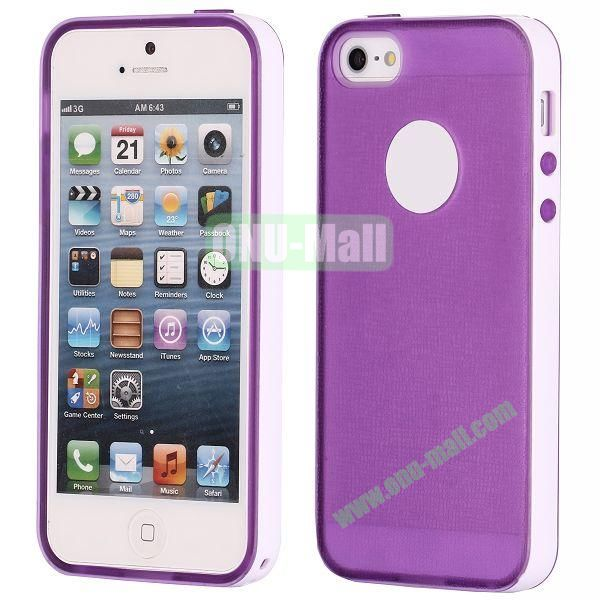 Two-tone Detachable Anti-skidding TPU Case for iPhone 5 5S (Purple)