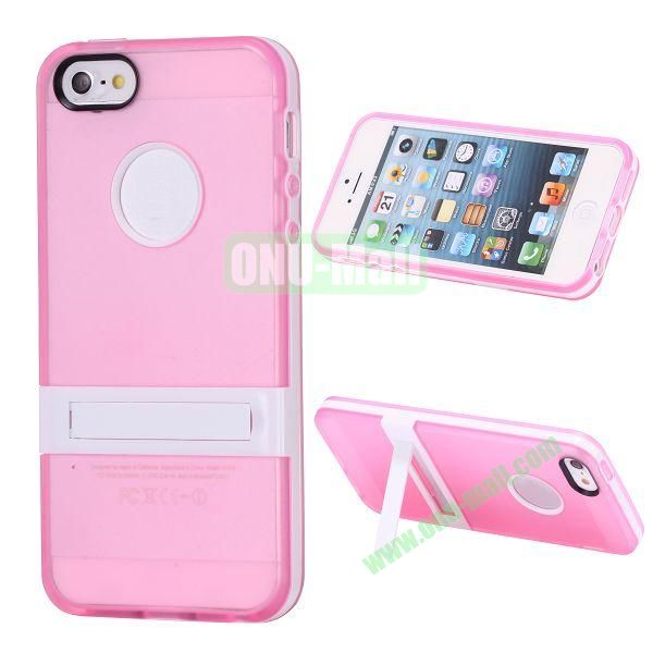 Double Color TPU Case for iPhone 5 5S with Stand (Rose+White)