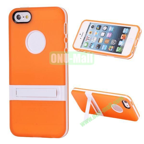 Double Color TPU Case for iPhone 5 5S with Stand (Orange+White)
