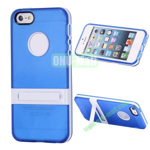 Double Color TPU Case for iPhone 5 5S with Stand (Blue+White)
