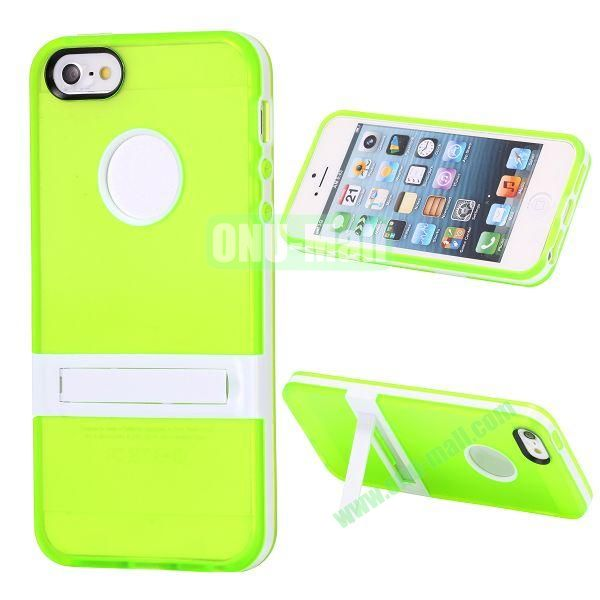 Double Color TPU Case for iPhone 5 5S with Stand (Green+White)