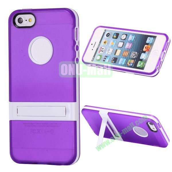 Double Color TPU Case for iPhone 5 5S with Stand (Purple+White)