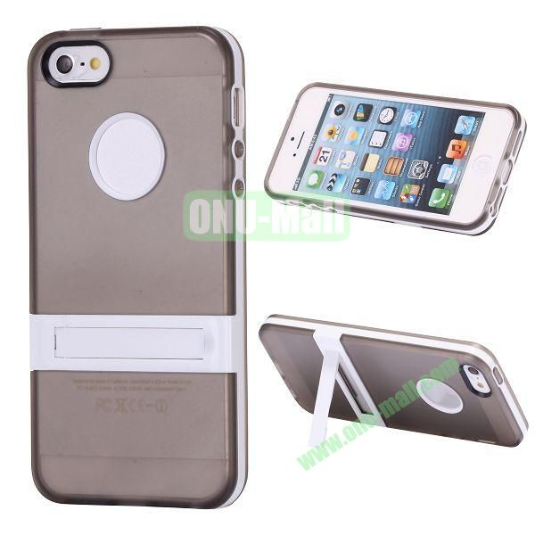 Double Color TPU Case for iPhone 5 5S with Stand (Grey+White)