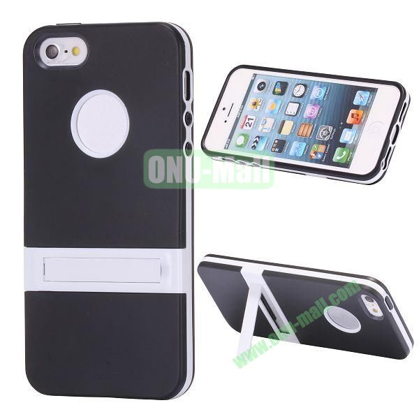 Double Color TPU Case for iPhone 5 5S with Stand (Black+White)