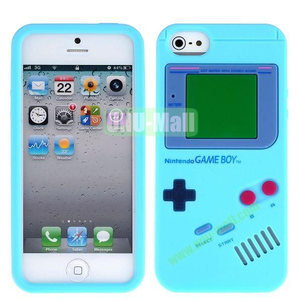 Nintendo Games Design Silicone Case for iPhone 5 5S (Light Blue)