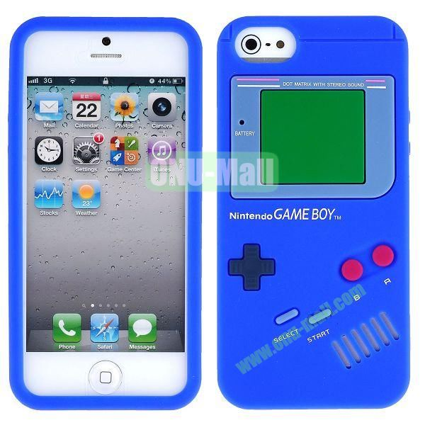 Nintendo Games Design Silicone Case for iPhone 5 5S (Dark Blue)