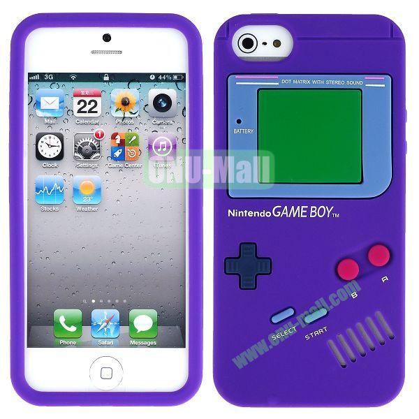 Nintendo Games Design Silicone Case for iPhone 5 5S (Purple)