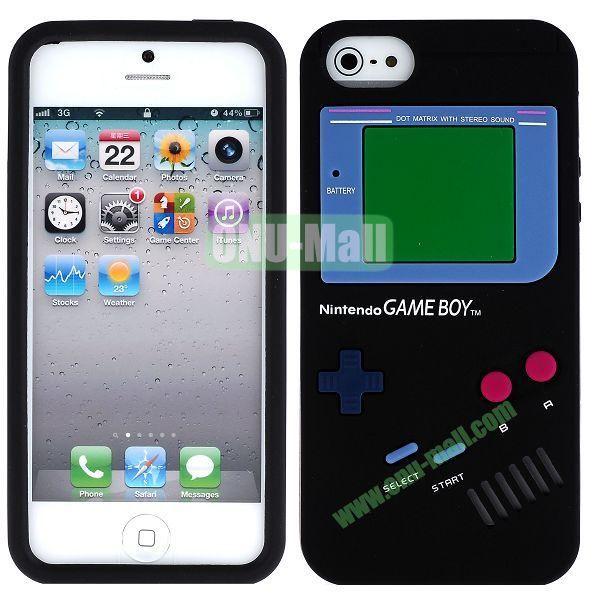 Nintendo Games Design Silicone Case for iPhone 5 5S (Black)
