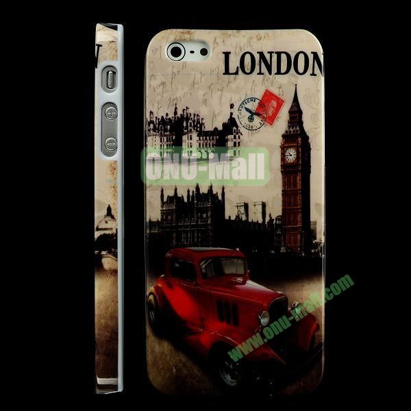 Special Design Hard PC Case For iPhone 5 5S (Red Car and Big Ben)