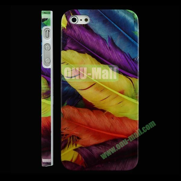 Special Design Hard PC Case For iPhone 5 5S (Colorful Feather)