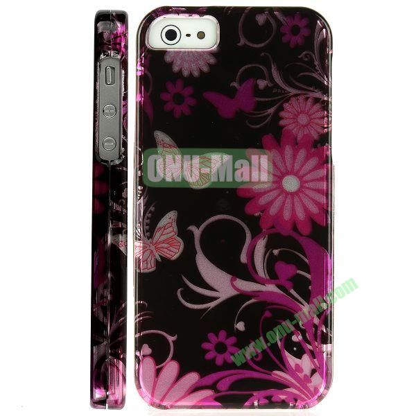 Special Design Front and Back Hard Case For iPhone 5 5S (Butterflies and Flower)