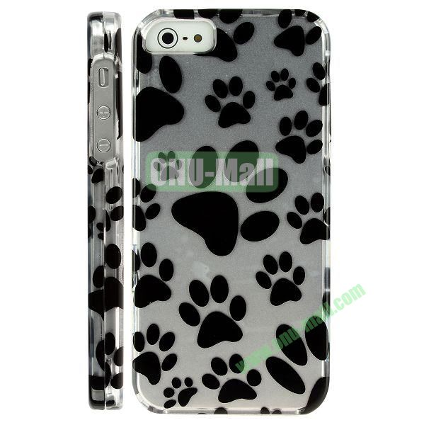 Special Design Front and Back Hard Case For iPhone 5 5S (Puppy Footprint)