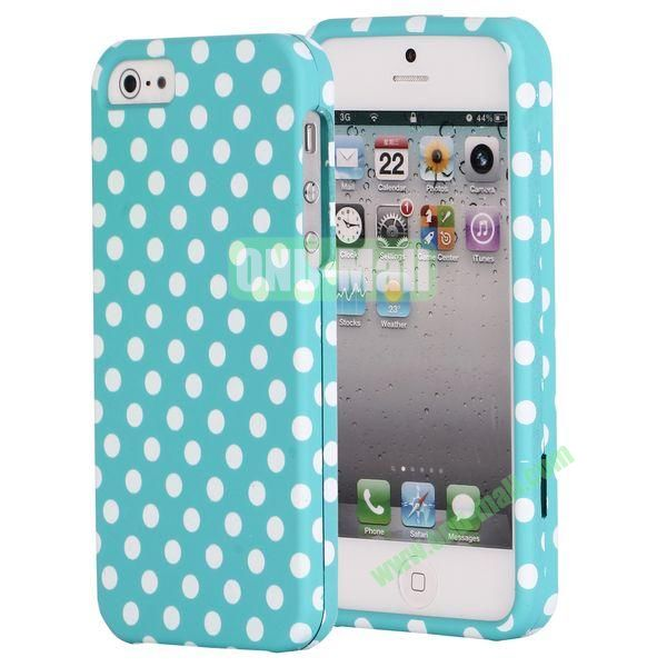 Fashionable Unique Design Detachable 2 in 1 Pattern Plastic Hard Coer Case for iPhone 5 5S (Blue Background and White Dots)