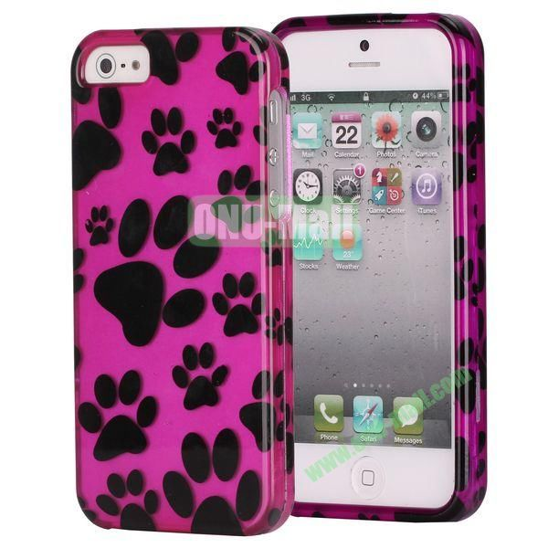 Fashionable Unique Design Detachable 2 in 1 Pattern Plastic Hard Coer Case for iPhone 5 5S (Animal Footprints)