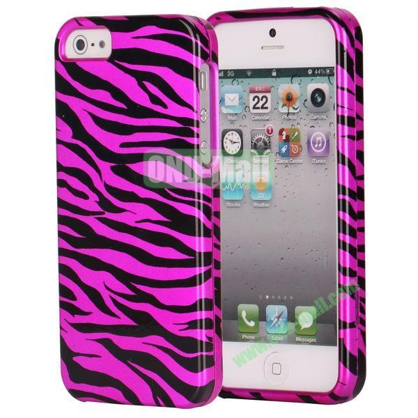 Fashionable Unique Design Detachable 2 in 1 Pattern Plastic Hard Coer Case for iPhone 5 5S (Purple and Black Zebra)