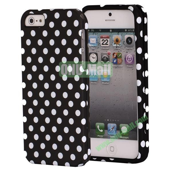 Fashionable Unique Design Detachable 2 in 1 Pattern Plastic Hard Coer Case for iPhone 5 5S (Black background and White Dots)