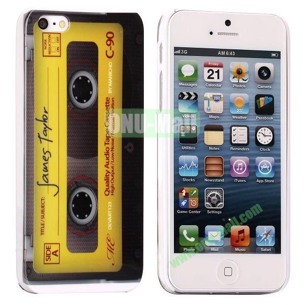 Unique Pattern PC Hard Case for iPhone 5 5S (Yellow Retro Tape)