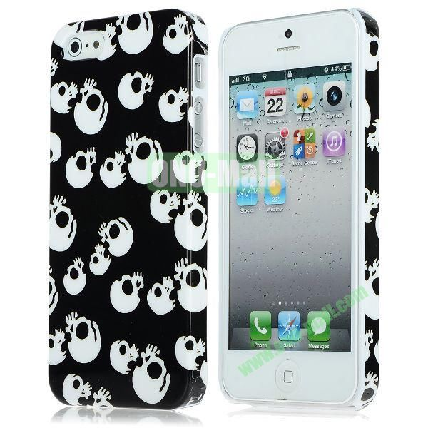 Unique Pattern PC Hard Case for iPhone 5 5S (White Skulls)