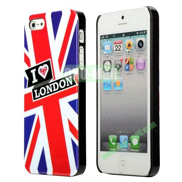 3D Printing Flag Design Back Cover Plastic Hard Case for iPhone 5 5S (UK Flag)