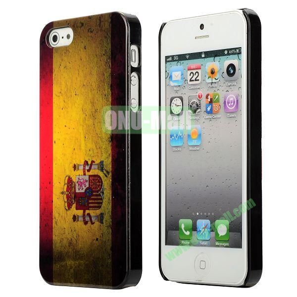 3D Printing Flag Design Back Cover Plastic Hard Case for iPhone 5 5S (Spain Flag)