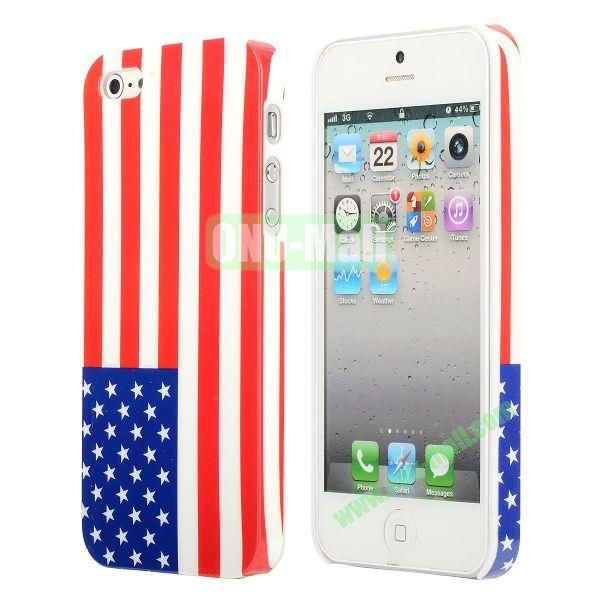 3D Printing Flag Design Back Cover Plastic Hard Case for iPhone 5 5S (America Flag)