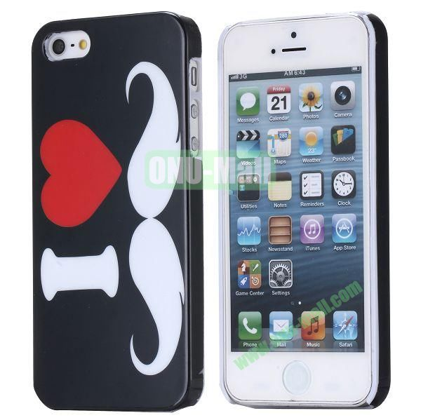 New Arrival Cool Design 3D Printing Hard Plastic Case for iPhone 5 5S (Chaplin Mustache)