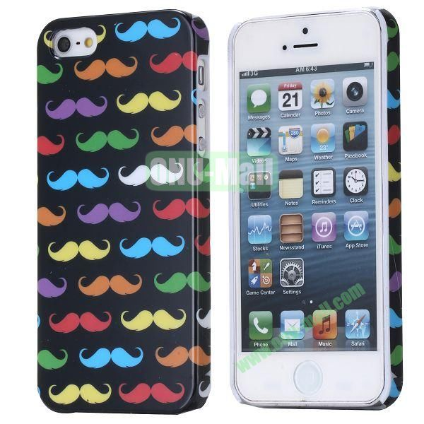 New Arrival Cool Design 3D Printing Hard Plastic Case for iPhone 5 5S (Colorful Chaplin Mustache)
