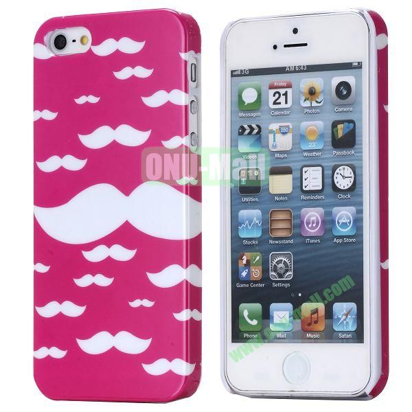 New Arrival Cool Design 3D Printing Hard Plastic Case for iPhone 5 5S (Pink Mustache)