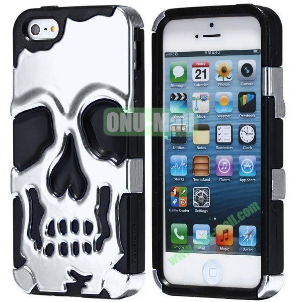 Super Fashional Skull Pattern Soft TPU Case for iPhone 5 5S (Silver+Black)