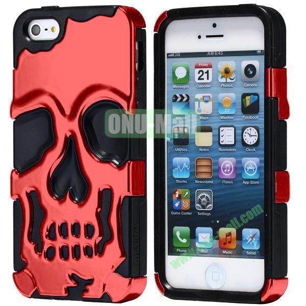Super Fashional Skull Pattern Soft TPU Case for iPhone 5 5S (Red+Black)
