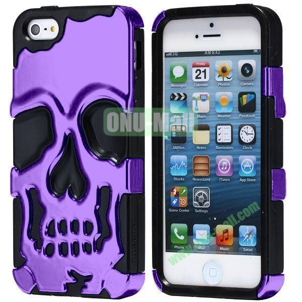 Super Fashional Skull Pattern Soft TPU Case for iPhone 5 5S (Purple+Black)