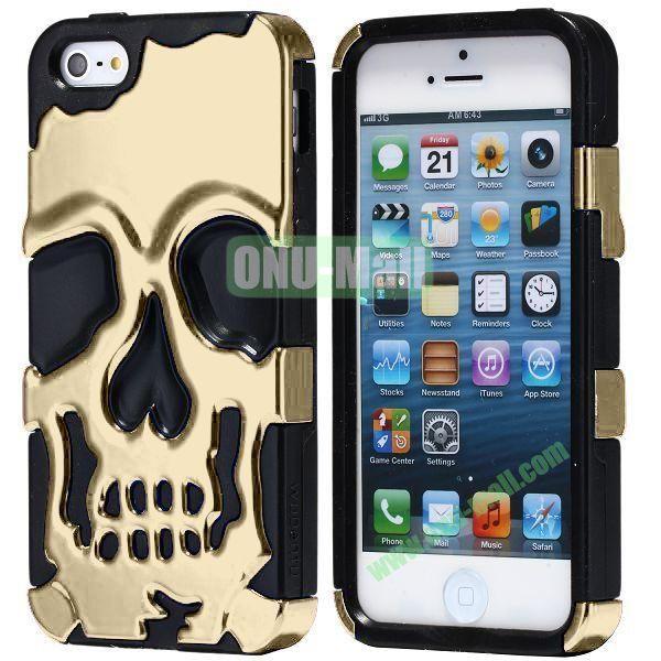 Super Fashional Skull Pattern Soft TPU Case for iPhone 5 5S (Gold+Black)